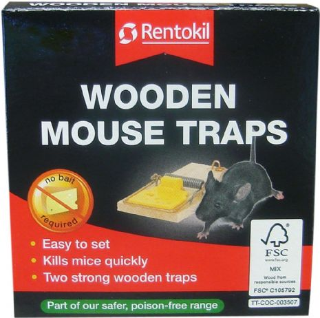 Rentokil Wooden Mouse Traps (Box) Twin Pack